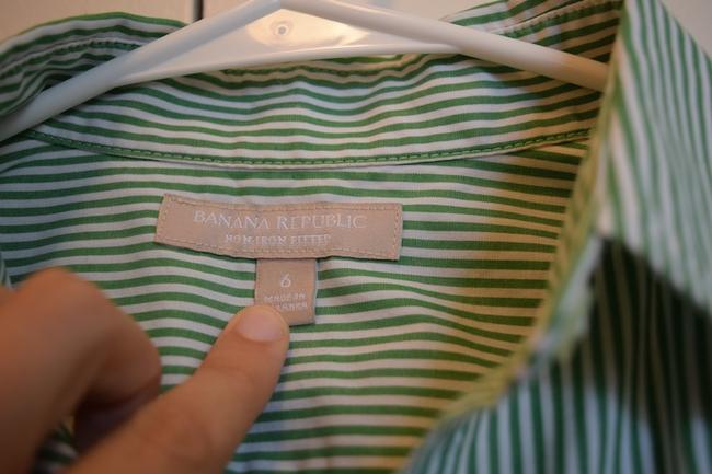 Banana Republic Perfect Club Day Country Club Fit Fitted Golf Tennis Pool Pink White Pink & White Pink And White Pinstripe Non-iron No Button Down Shirt Green