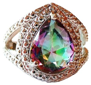 Mystic Rainbow Topaz, White Topaz 925 Sterling Silver Ring 7.5