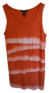 Verve Ami Soft Comfortable Flattering Zig Zag Zig Zag Dip Dye Pattern Summer Pop Of Color Color White Sleeveless Top Orange