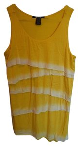 Verve Ami Soft Comfortable Flattering Zig Zag Zig Zag Dip Dye Summer Pop Of Color Color White And White & White Sleeveless Top Yellow