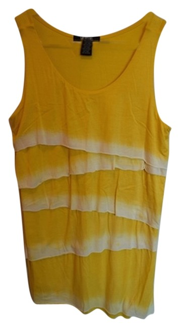 Item - Yellow Soft Comfortable Flattering Zig Zag Zig Zag Dip Dye Summer Pop Of Color Color White and White Tank Top/Cami Size 8 (M)