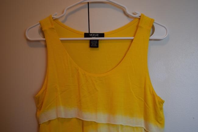 Verve Ami Soft Comfortable Flattering Zig Zag Zig Zag Dip Dye Summer Pop Of Color Color White And White White Sleeveless Top Yellow