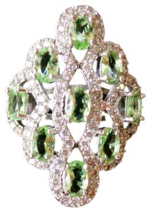 Green Peridot, White Zircon 925 Stering Silver 14k Large Cocktai Ring