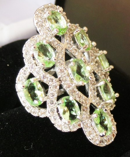 Other Green Peridot, White Zircon 925 Stering Silver 14k Large Cocktai Ring