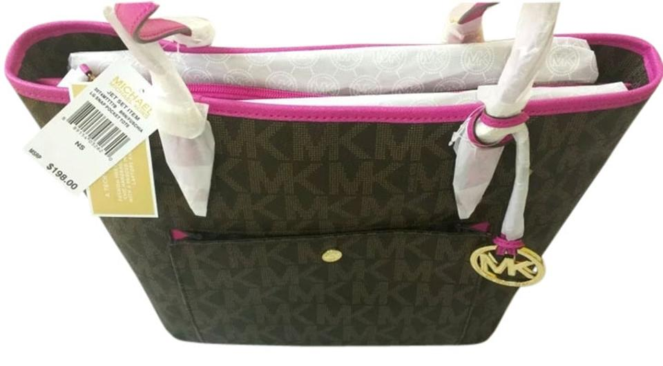 efeb73d88feb Michael Kors Jet Set Large Snap Pocket Brown Fuschia 30t4gttt7b ...