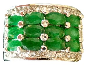 Natural Green Emerald and White Topaz 925 Sterling Silver Ring