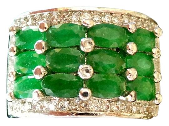 Preload https://item1.tradesy.com/images/unknown-natural-green-emerald-and-white-topaz-925-sterling-silver-ring-4563895-0-0.jpg?width=440&height=440