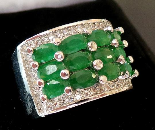 Other Natural Green Emerald and White Topaz 925 Sterling Silver Ring