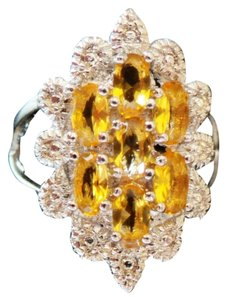 Golden Citrine and White Zircon 925 Sterling Silver Cocktail Ring 7