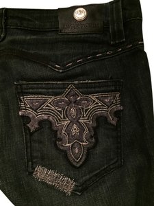 Antik Denim Distressed Embellished Embroidered Metallic Patchwork Boot Cut Jeans-Dark Rinse