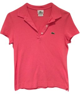 Lacoste Polo Buttons Short Sleeved Petite Button Down Shirt Candy Box Pink