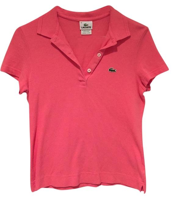 Lacoste Buttons Short Sleeved Petite Button Down Shirt Candy Box Pink