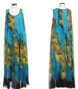 Peacock Print Maxi Dress by Other Summer