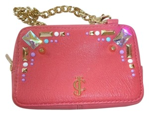 Juicy Couture Leather Embellished Wristlet in pink