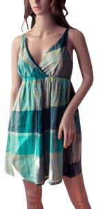 Old Navy short dress green, blue, yellow Skater Hipster Punk Plaid Ginham Aqua Cochella Burningman Sleeveless Halter Tank Cotton Mock Wrap Style Wrap on Tradesy