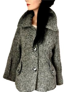 Paris Hilton Designer Office Date Night Holiday Fall Winter Gray Black Tweed Jacket