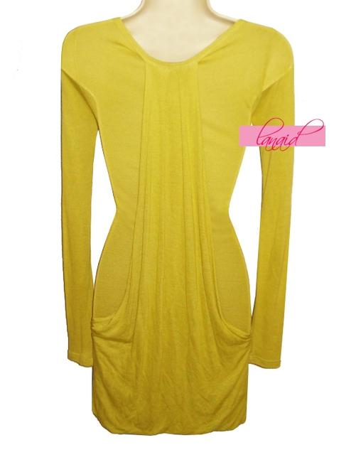 Lush Draped Ruched Flowy Mustard Tunic