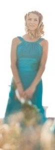 David's Bridal Blue Chiffon And Charmeuse Rounded Neckline Formal Bridesmaid/Mob Dress Size 6 (S)