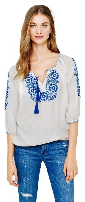 J.Crew Peasant Top White with Blue Embroidery