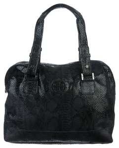Tory Burch Leather Suede Reva Logo Monogram Snakeskin Animal Print Print Silver Hardware Satchel in Black
