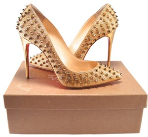 Christian Louboutin Glitter Spike Pigalle Follies 100mm 39 gold Pumps