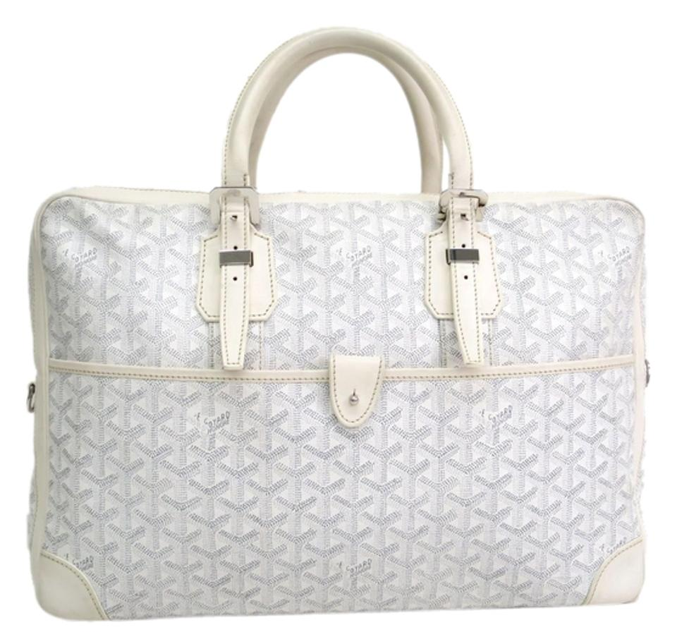 Goyard Ambassade Briefcase White Leather   Canvas Satchel - Tradesy 1d37e17168891