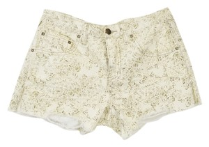 Free People Pattern Boho Chic Cut Off Shorts Beige/Brown/Multi