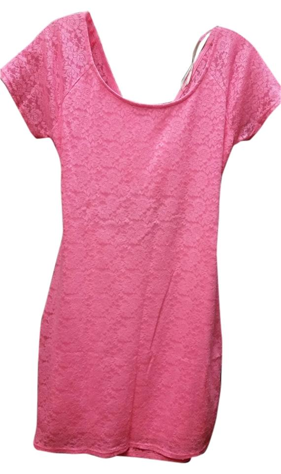 Forever 21 Neon Pink Lace Cross Back Bodycon Mini Night Out Dress Size 12 L 60 Off Retail
