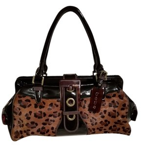 bebe Satchel in Black Leopard
