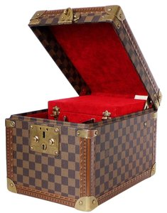 Louis Vuitton Special Order Rare Train Case Trunk Brown Travel Bag