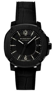 Burberry Burberry Men's Swiss Automatic The Britain Black Rubberized Leather Strap Watch 43mm BBY1207