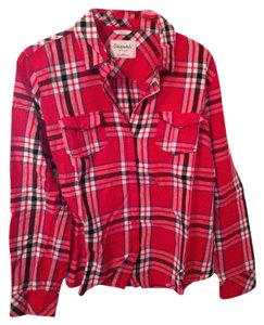 Aéropostale Flannel Plaid Longsleeve Button Down Shirt Red/black/white/blue