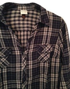Sonoma Plaid Warm Flannel Button Down Shirt Navy/white