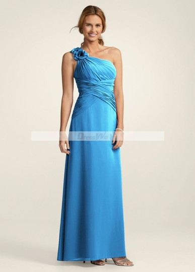 David's Bridal Blue Chiffon F14010 Malibu Formal Bridesmaid/Mob Dress Size 8 (M)