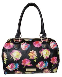 Betsey Johnson Satchel in Black with pink floral