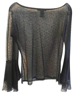 Parallel Sheer Lace Boat Neck Bell Sleeves Top Black