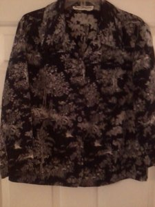 Norm Thompson Toile Blouse Button Down Shirt Black