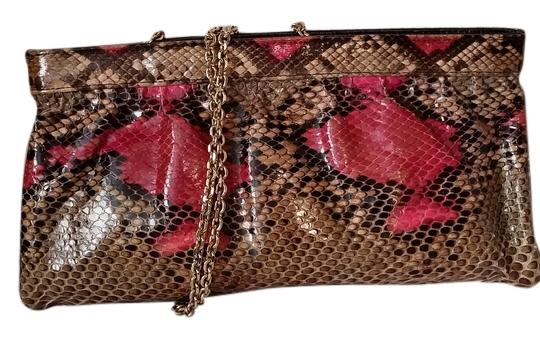 Code Vintage Brown and Fuchsia real snakeskin Clutch