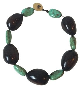 Ralph Lauren Ralph Lauren Turquoise And Wood Bead Necklace
