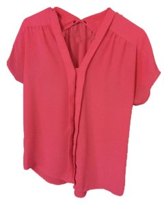 Express Bright Bright Pink Button Down Button Up Shirt Career Going Out Weekend Dressy Work Professional Party Night Out Zara Top coral pink