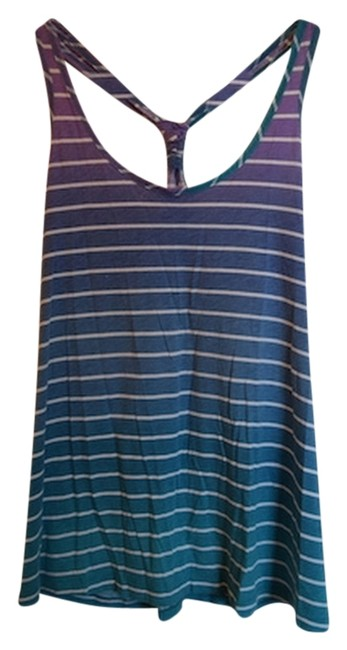 Old Navy Bright Fun Ombre Racerback Pool Party Summer Colorful Colors Blue White White Stripes Striped Stripe Top Purple