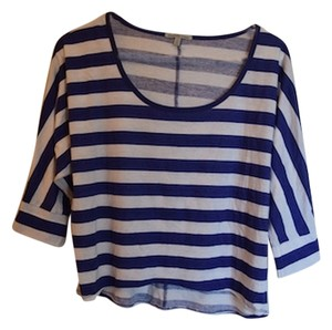 Charlotte Russe Cute Barely Midriff Midriff Summer Bbq Barbeque Red White And America White And White & White Striped Stripe Wide T Shirt Blue
