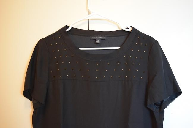 Banana Republic Boxy Silk Short Sleeve Gold Stud Stud Stud Detail Stud Details Studded Work Wear To Work Wear With Blazer Under Blazer Top Black
