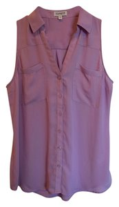 Express Classic Shirt Confidence Effortless Style Luxe Semi-sheer Crepe Point Collar Notch Neckline Button Front Sleeveless Hem Button Down Shirt Purple