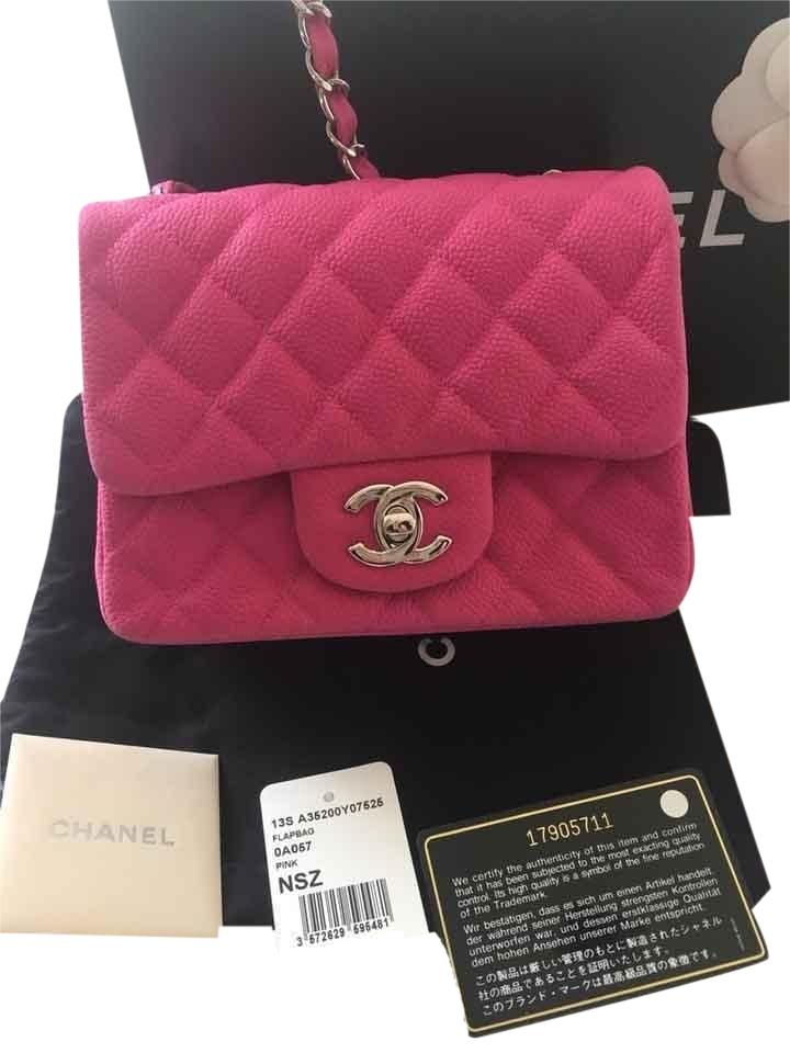 f02a45a76c9e Chanel Classic Square Mini Flap In Pink/Fuschia Pink/Fuschia Sueded Caviar  Leather Cross Body Bag