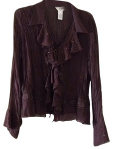 S.L.B. Ruffle Beaded Sheer Top Chocolate brown