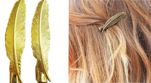 Tom Design Gold Feather Hair Clips