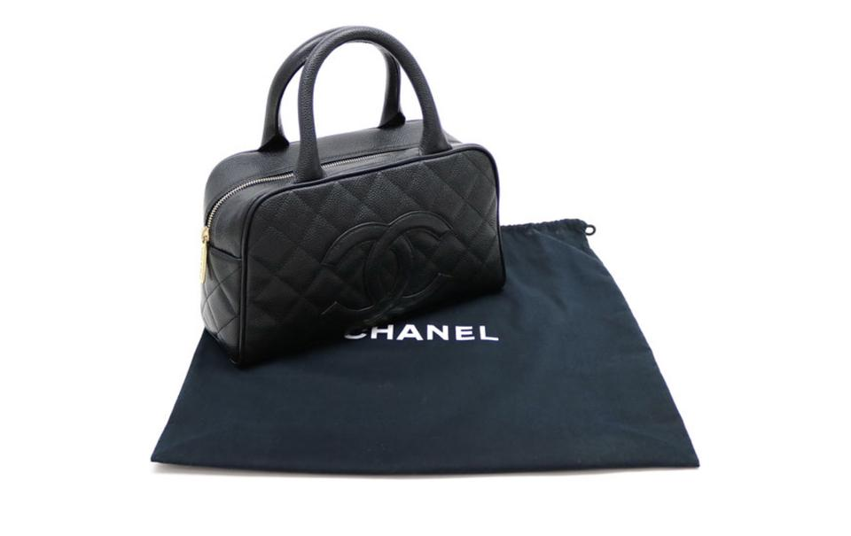 b848b41afd4cff Chanel Quilted Leather Cc Bowling Boston Black Caviar Satchel - Tradesy