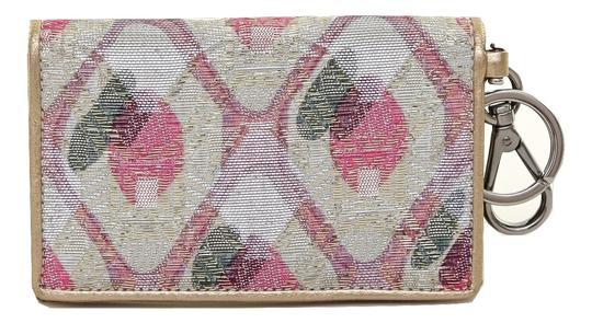 Miu Miu Miu Miu Metallic Gold Pink Jewel Leather Fabric Mini Wallet Card Case Key Chain Image 2