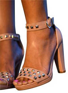 H&M Heels Studded Natural Sandals